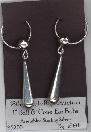 Ball and Cone Earrings 1""