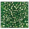 Czech 9/0 3-cuts seed bead hank 56430 (GREEN TRANS LUSTER)