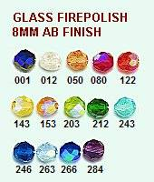 Glass Fire Polish Beads- 8mm AB Finish (25/pk) 243 turquoise